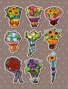 Cartoon flower stickers Stock Photo