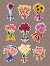 Cartoon flower stickers Royalty Free Stock Images