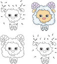 Cartoon fluffy sheep. Coloring book and dot to dot game for kids Royalty Free Stock Photo