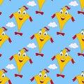 Cartoon Flying Kite Seamless Pattern