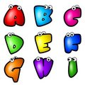 Cartoon Font Type_Letter A to I Stock Photography