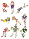Cartoon football player icon Stock Photography