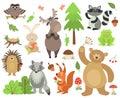 stock image of  Cartoon forest animals. Elk owl hare raccoon squirrel bear hedgehog frog. Woodland animal vector isolated