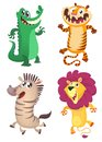 Cartoon forest animals set. Vector illustration of crocodile, tiger, zebra, lion