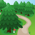 Cartoon forest background vector with path and mushrooms Stock Photos