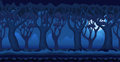 Cartoon forest at moonlit night video game background