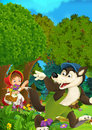 Cartoon forest scene - wolf waving little girl for goodbye - good for different fairy tales Royalty Free Stock Photo