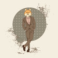 Cartoon Fox Hipster Wear Fashion Suit Retro Abstract Background