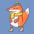 Cartoon fox with scarf. Cartoon illustration in comic trendy style.