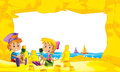 Cartoon frame with children on the beach playing in sand sailboats in the background - space for text