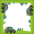 Cartoon frame of a military truck in the forest off road with space for text