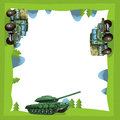 Cartoon frame of a military truck and tank in the forest off road with space for text