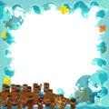 Cartoon frame ocean