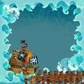 Cartoon frame pirate ship ocean