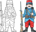 French soldier, world war one, coloring book Royalty Free Stock Photo