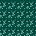 Cartoon fresh apple doodle fruits in flat style seamless pattern food summer design vector illustration.