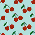 Cartoon fresh cherry fruits in flat style seamless pattern food summer design vector illustration.