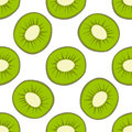 Cartoon fresh kiwi fruits in flat style seamless pattern food summer design vector illustration.