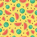 Cartoon fresh watermelon fruits in flat style seamless pattern food summer design vector illustration. Royalty Free Stock Photo