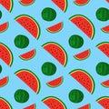 Cartoon fresh watermelon fruits in flat style seamless pattern food summer design vector illustration.