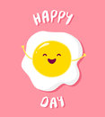 Cartoon fried egg raises hands and smiles. Vector card