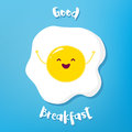Cartoon fried egg raises hands and smiles. Vector illustration