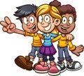 Happy cartoon kids friends hugging