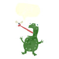 cartoon frog catching fly with speech bubble Royalty Free Stock Photo