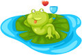Cartoon frog chilling illustration of isolated on white Royalty Free Stock Photo