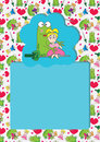 Cartoon Frog Girl Seamless Pattern Card_eps Royalty Free Stock Photography