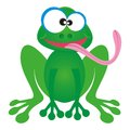 Cartoon frog happy green character with long pink tongue Royalty Free Stock Images