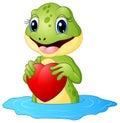 Cartoon frog holding a heart