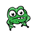 Cartoon frog illustration on white background for design Stock Photos