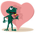 Cartoon frog in love cute with a beautiful red flower her hand dreaming Royalty Free Stock Photo