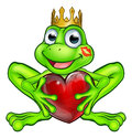Cartoon Frog Prince with Love Heart Royalty Free Stock Photo