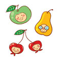 Cartoon fruit characters isolated vector on white Royalty Free Stock Photography