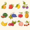 Cartoon fruit set Stock Images