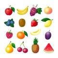 Cartoon fruits and berries. Apple banana grape peach blueberry kiwi lemon strawberry raspberry melon plum pear pineapple