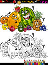 Cartoon fruits group for coloring book or page illustration of funny comic food characters children education Royalty Free Stock Image
