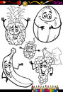 Cartoon fruits set for coloring book or page illustration of black and white food comic characters children education Stock Image