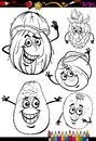 Cartoon fruits set for coloring book or page illustration of black and white food comic characters children education Royalty Free Stock Images