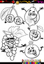 Cartoon fruits set for coloring book or page illustration of black and white food comic characters children education Royalty Free Stock Image
