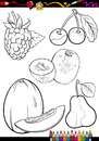 Cartoon fruits set for coloring book or page illustration of different black and white food objects Royalty Free Stock Image