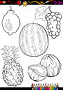 Cartoon fruits set for coloring book or page illustration of five black and white food objects Royalty Free Stock Images
