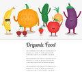 Cartoon fruits and vegetables. Eco food background. Template with space for text. Vector