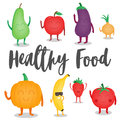Cartoon fruits and vegetables. Healthy style collection. Vector