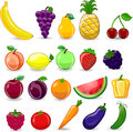 Cartoon fruits and vegetables illustration picture Royalty Free Stock Photography