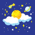Cartoon full moon and clouds in the night sky. Royalty Free Stock Photo