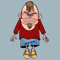 Cartoon funny angry character man with a beard