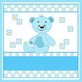 Cartoon funny bear. Blue. Stock Photography